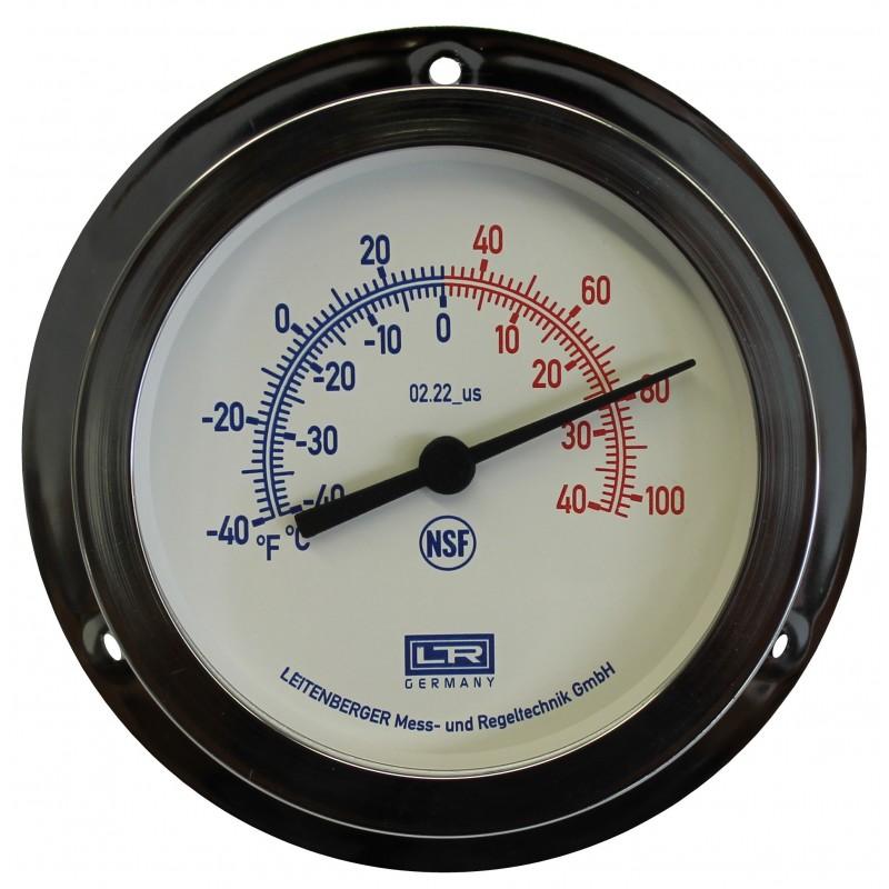 Leitenberger HVAC Thermometer 02.22 Analog Panel Mount ABS Case