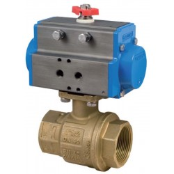 "Bonomi 8P0082 - Brass NPT Actuated Ball Valve With Spring Return Actuator Connection 1/4"" to 4"""