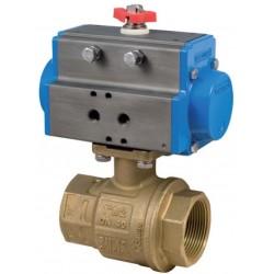 """Bonomi 8P0080 - Válvula de bola de latón con actuador de doble efecto - Conexión de 1/4 """"a 4"""""""